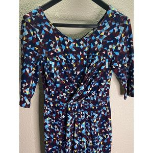 Yumi Abstract Design with Ruching Blue Dress Sz S